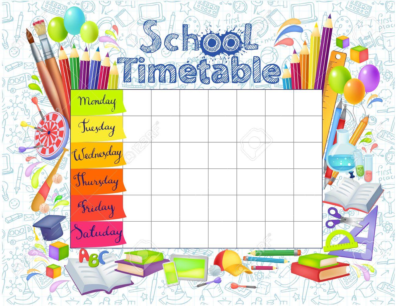 Vorlage Stundenplan Für Studenten Oder Schüler Mit Tagen Der Woche ...