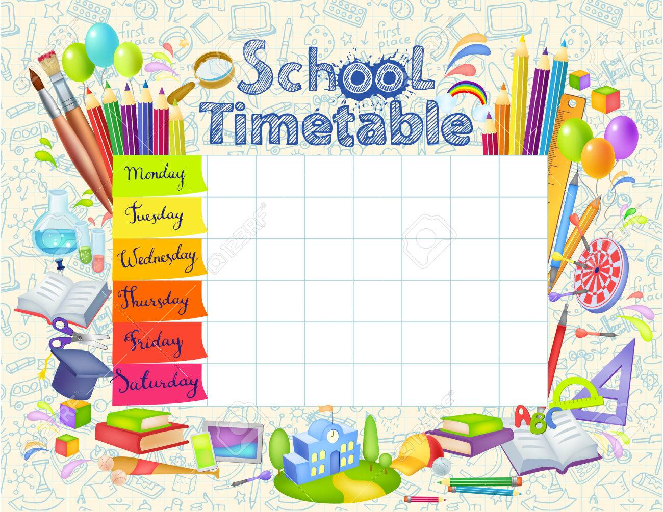 Template School Timetable Royalty Free Cliparts, Vectors, And ...