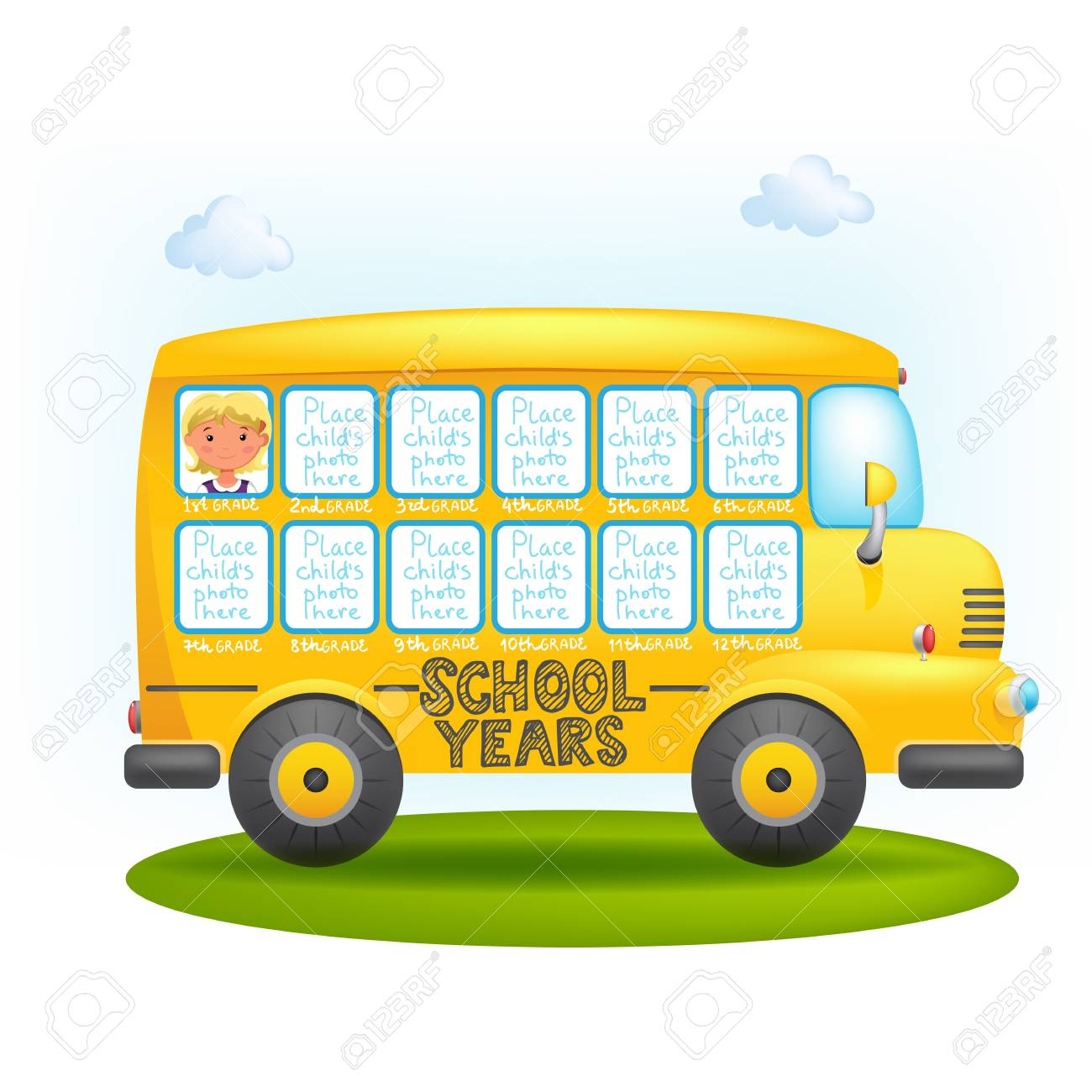 School Bus Frame Royalty Free Cliparts Vectors And Stock