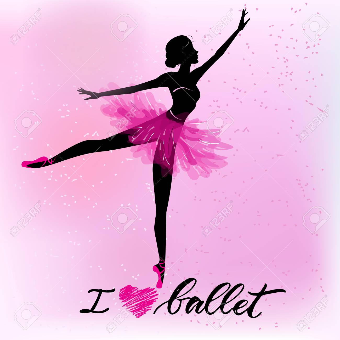 Silhouette of young ballerina - 97070283