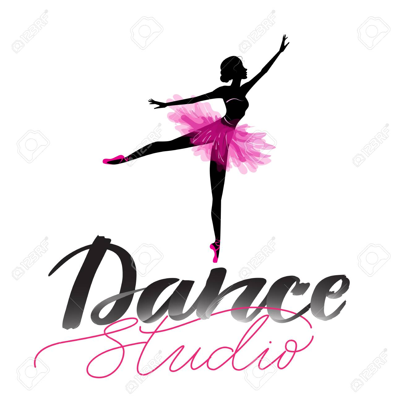 Logo Hand Written Sign For Ballet Or Dance Studio Silhouette Of Young Dancer And