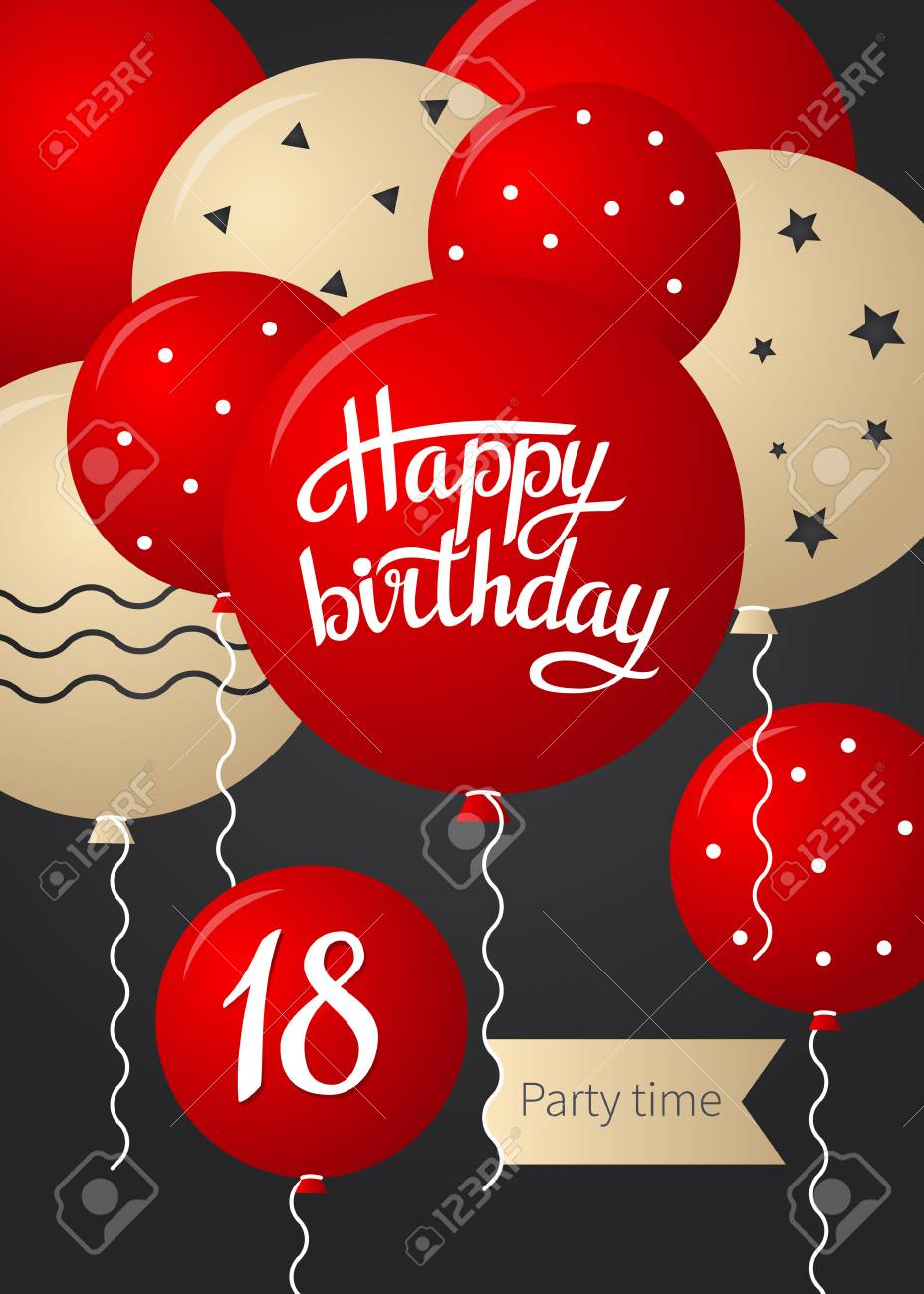 Happy Birthday Card Template With Balloons 18 Years Vector Illustration Stock