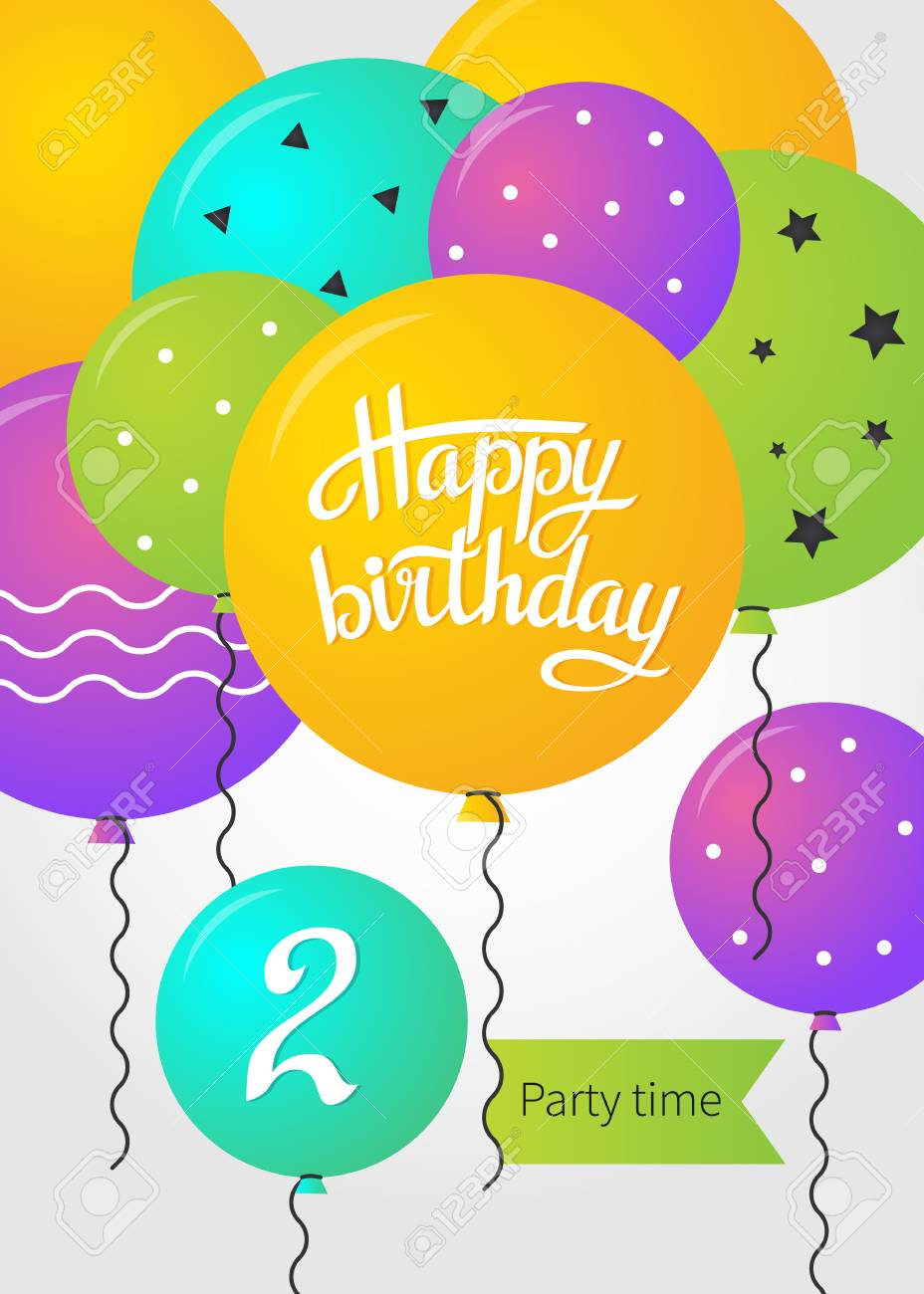 Happy Birthday Card Template With Balloons 2 Years Vector Illustration Stock