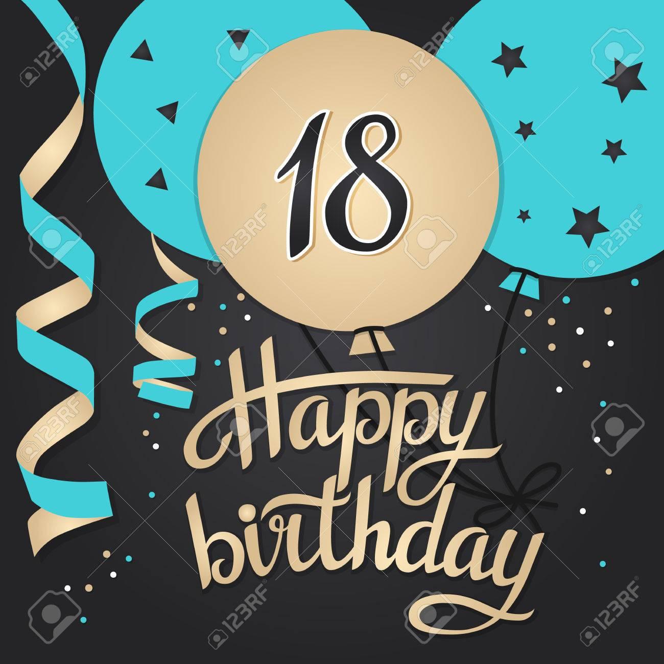 happy birthday 18 Happy Birthday Card Template With Balloons. 18 Years Vector  happy birthday 18