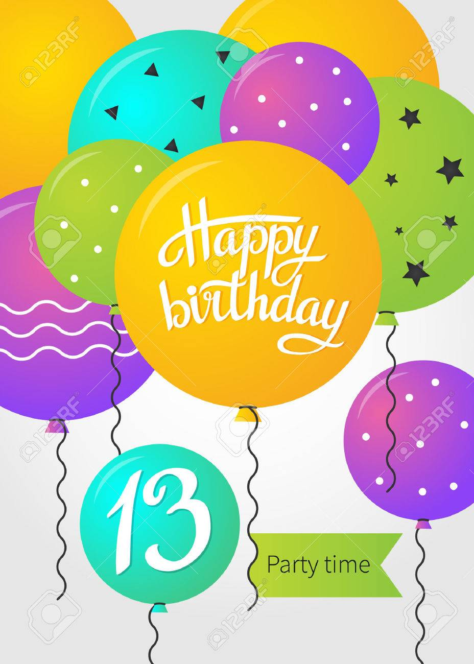 Happy Birthday Card Template With Balloons 13 Years Vector Illustration Stock