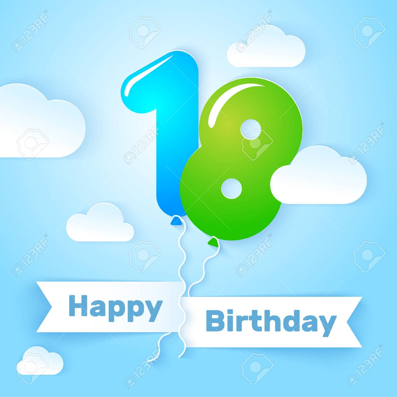 Happy Birthday Card Template With Number Balloon 18 Years Vector Illustration Stock