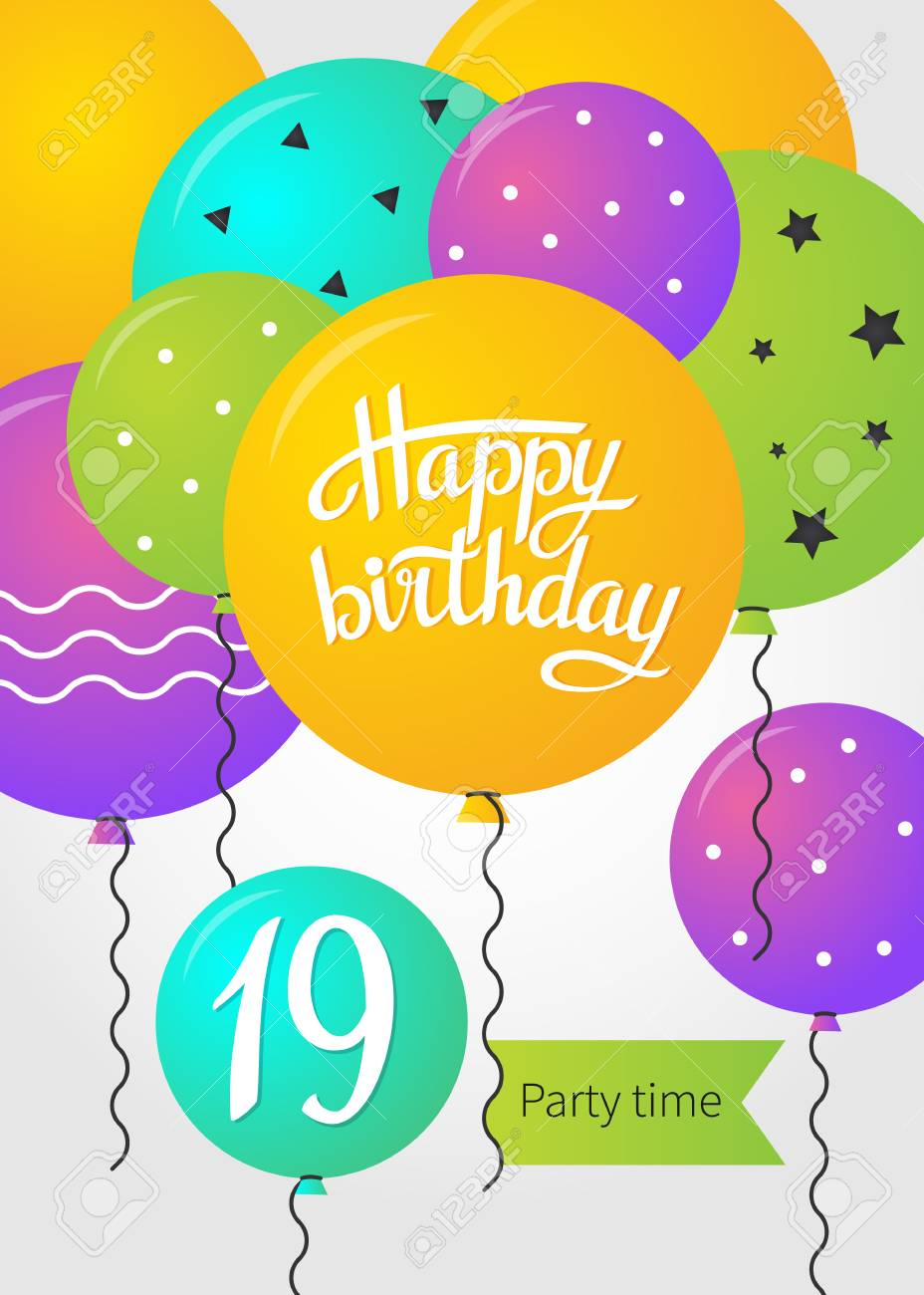 Happy Birthday Card Template With Balloons 19 Years Vector Illustration Stock