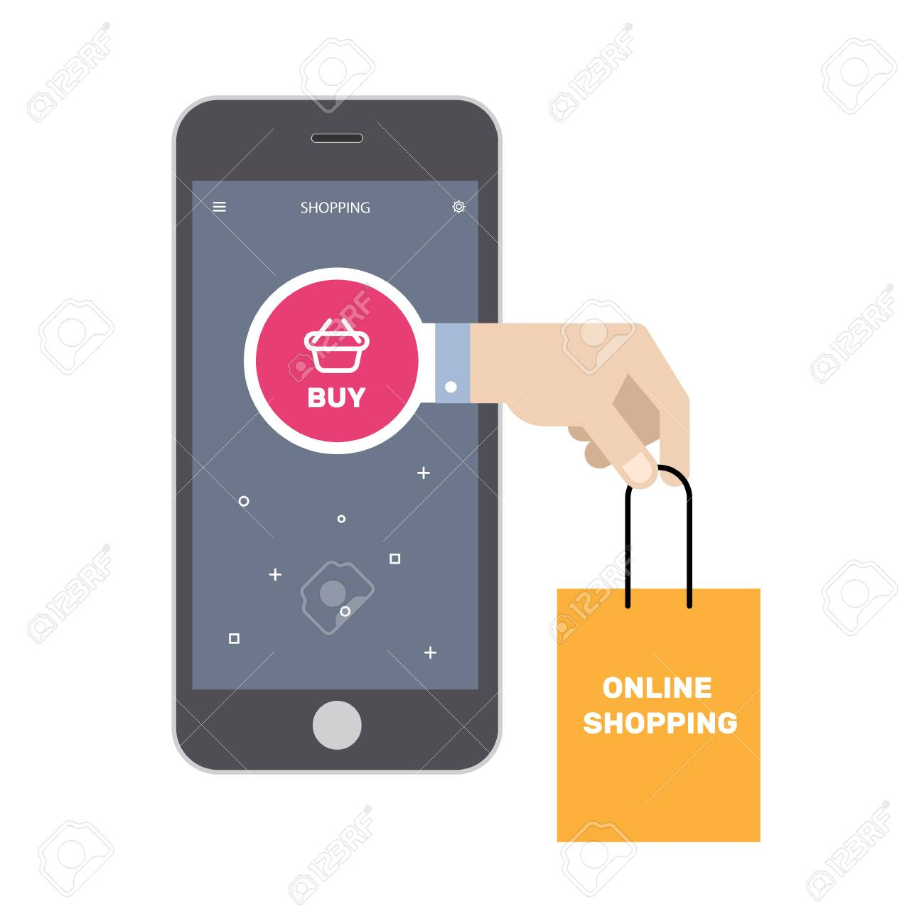 Online shopping marketing  Mobile phone services  Vector illustration