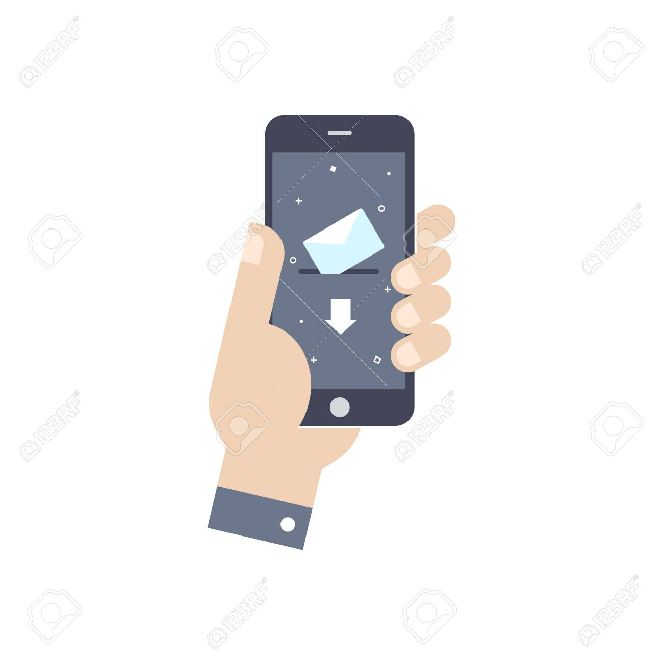 concepto negocio de teléfono de el pantallaEstilo plano de electrónico Diseño en vectorial Agujereando la ilustración inteligente con el correo y6bfg7