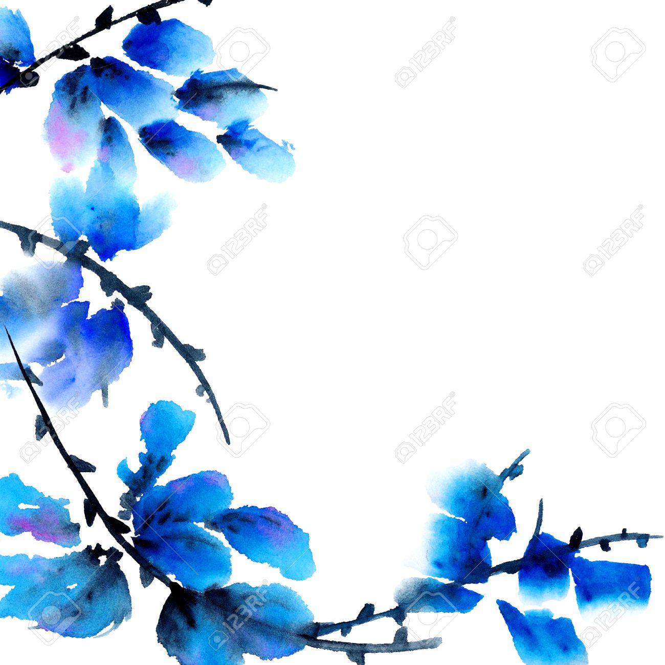 Flores Azules Pintura De La Acuarela En El Tradicional Estilo