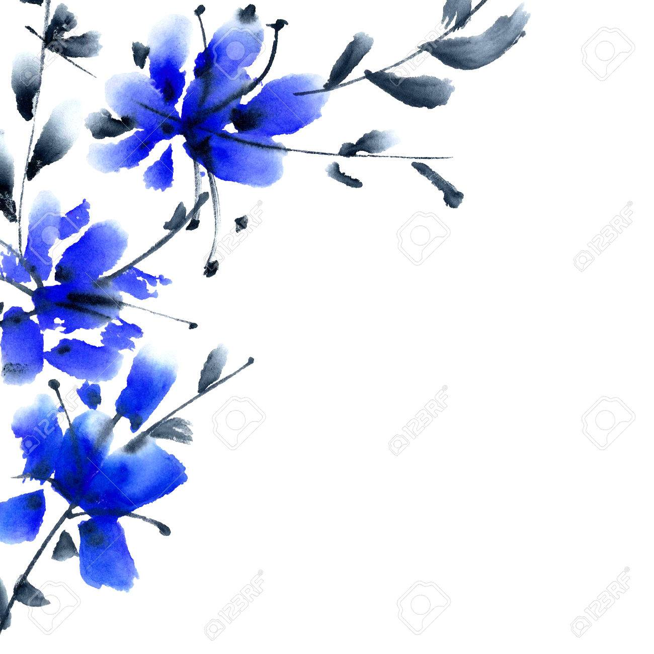 Blue Flowers Bouquet. Background With Corner Composition For.. Stock ...