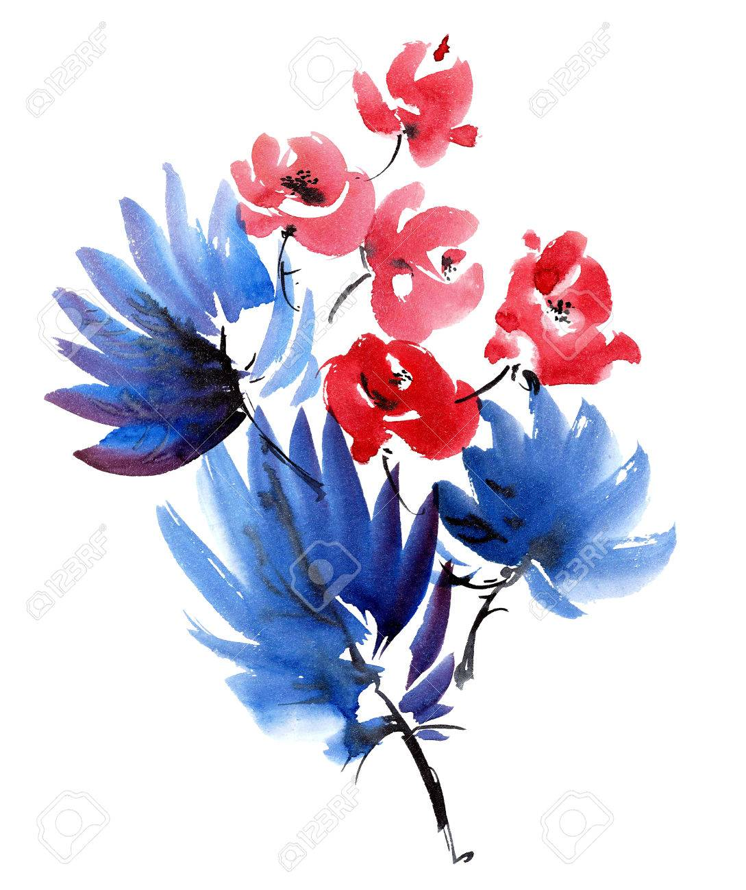 Red Flowers And Dark Blue Leaves Bouquet Watercolor And Ink Stock Photo Picture And Royalty Free Image Image 60186475