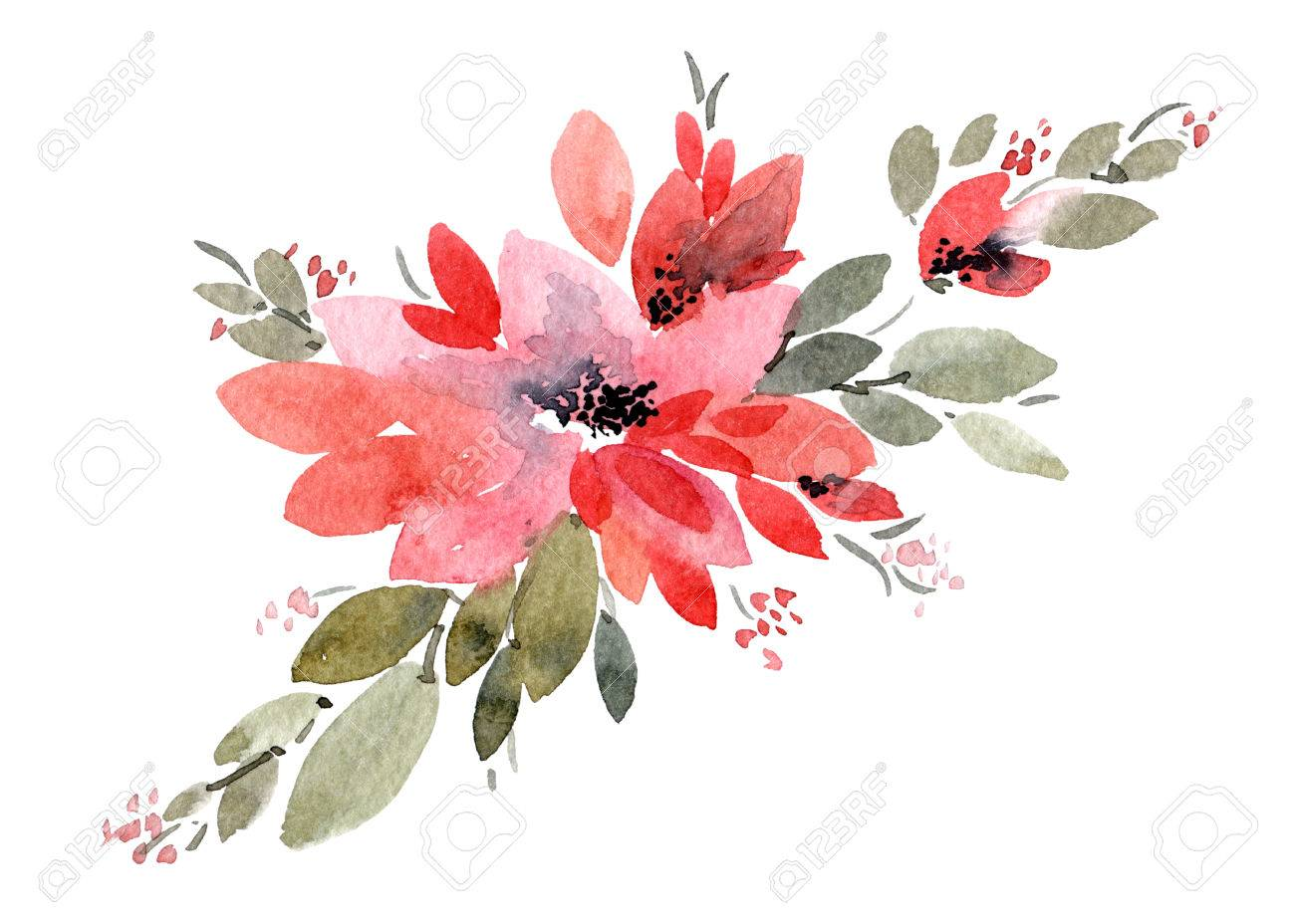watercolor painted flowers with leaves hand drawn flowers greeting