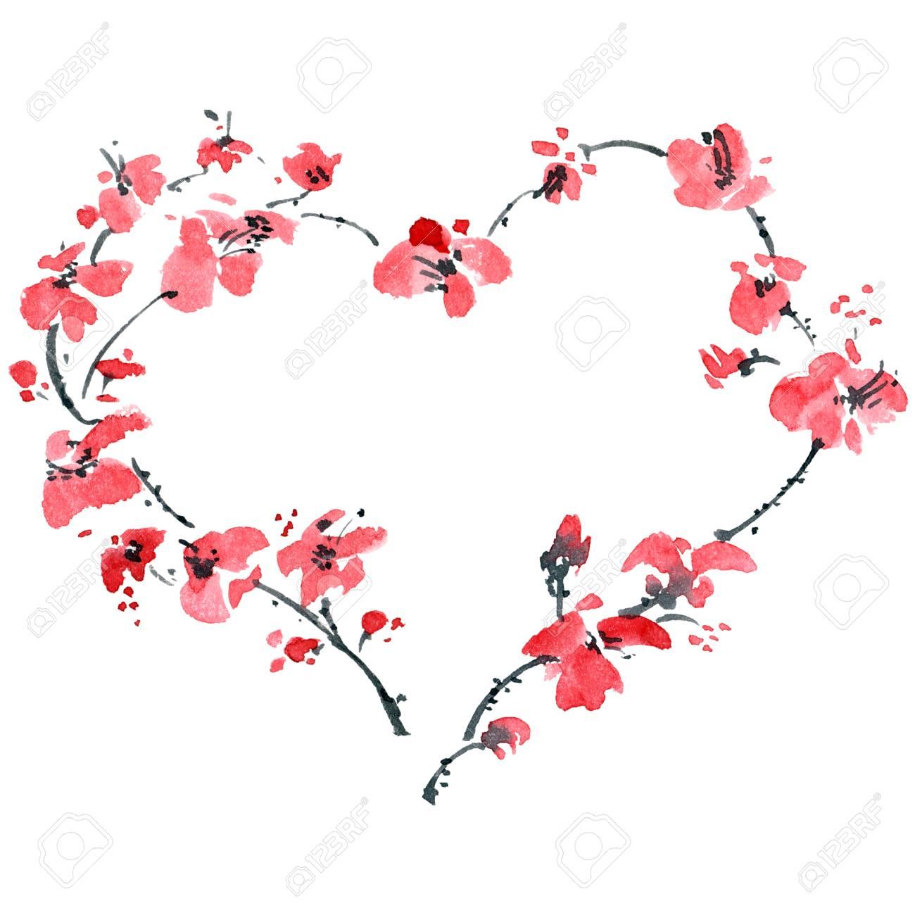 Aquarell Gemalt Floralen Herzen Illustration Fur Romantische Karten