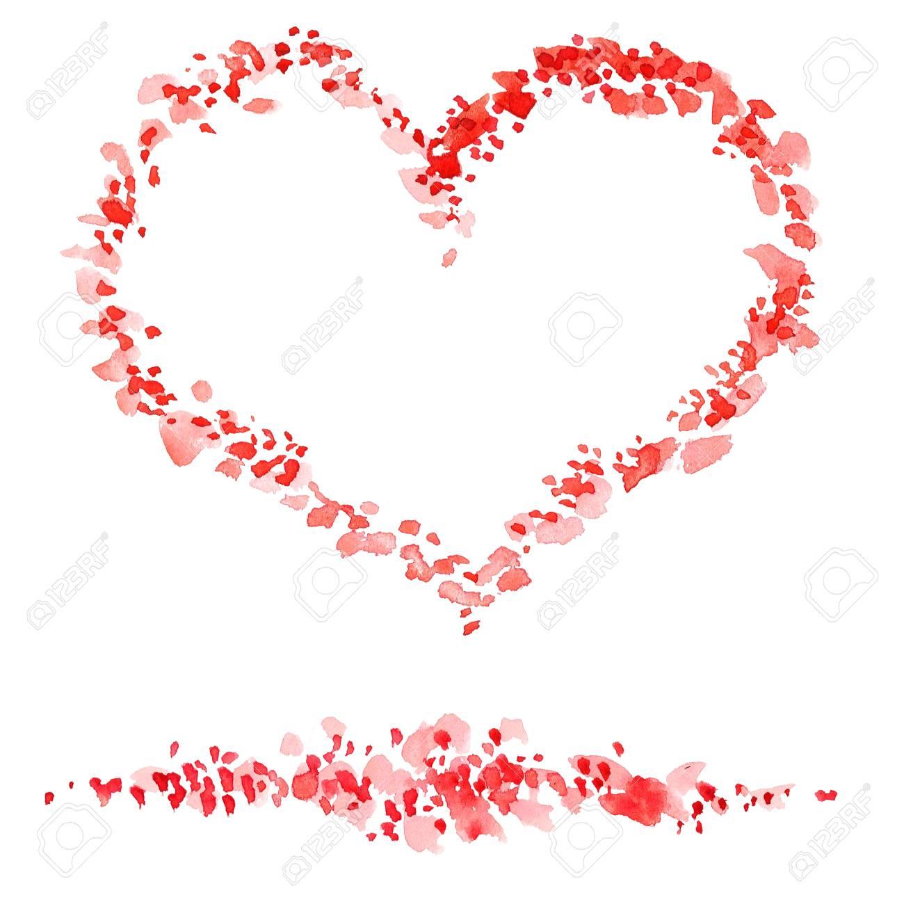 Aquarell Gemalt Dekorative Abbildung Des Herzens Fur Romantische