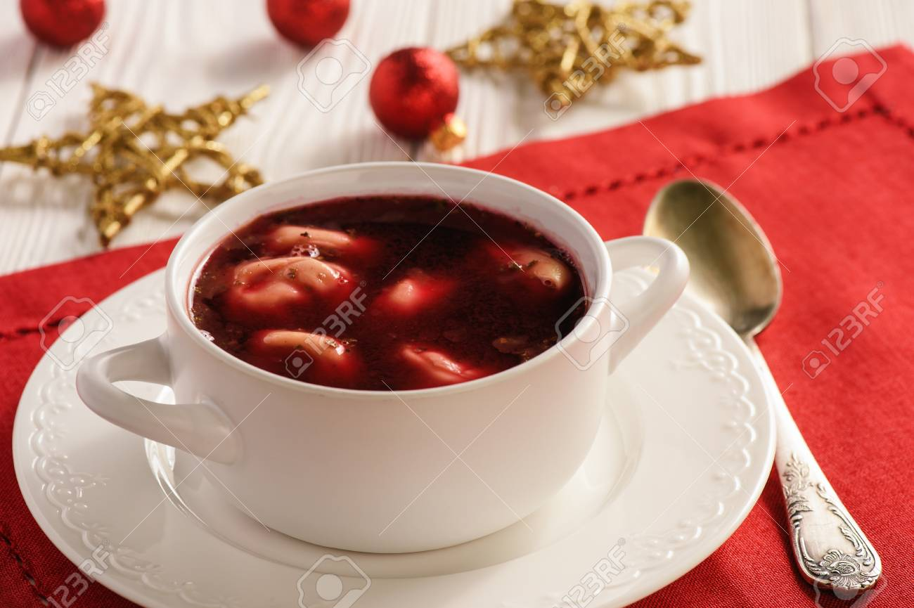 Traditional Polish Christmas Soup Red Borscht Soup With Dumplings Stock Photo Picture And Royalty Free Image Image 88295549