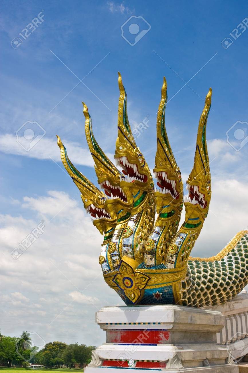 fivr head serpent pattern by Thai style Stock Photo - 10305853