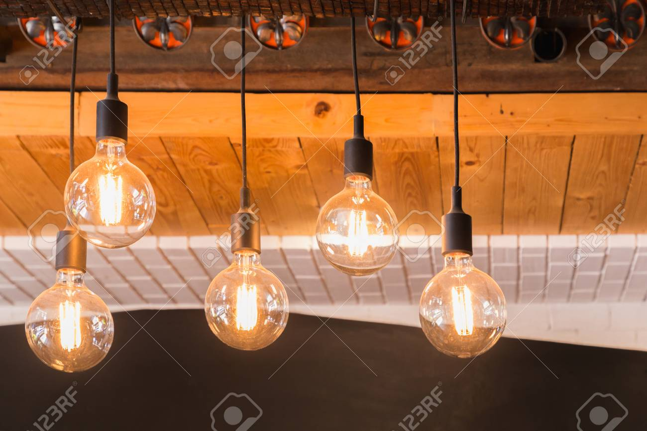 Decorative Antique LED Tungsten Light Bulbs Hanging On Ceiling ...