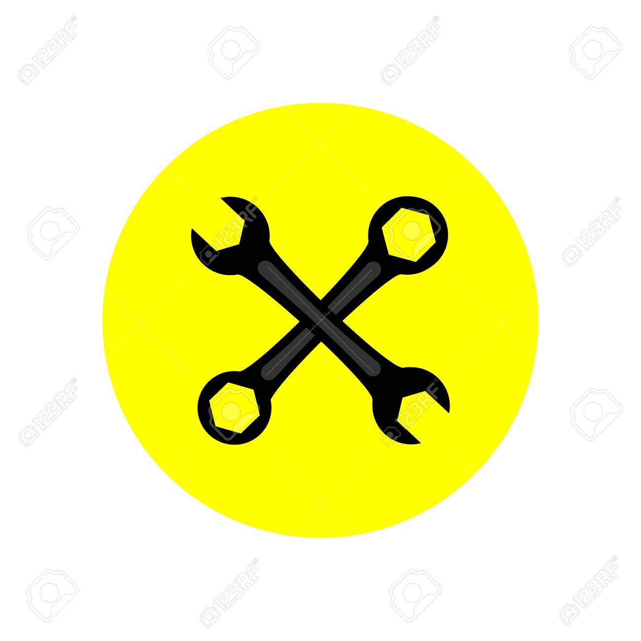 wrench icon in yellow circle vector illustration royalty free