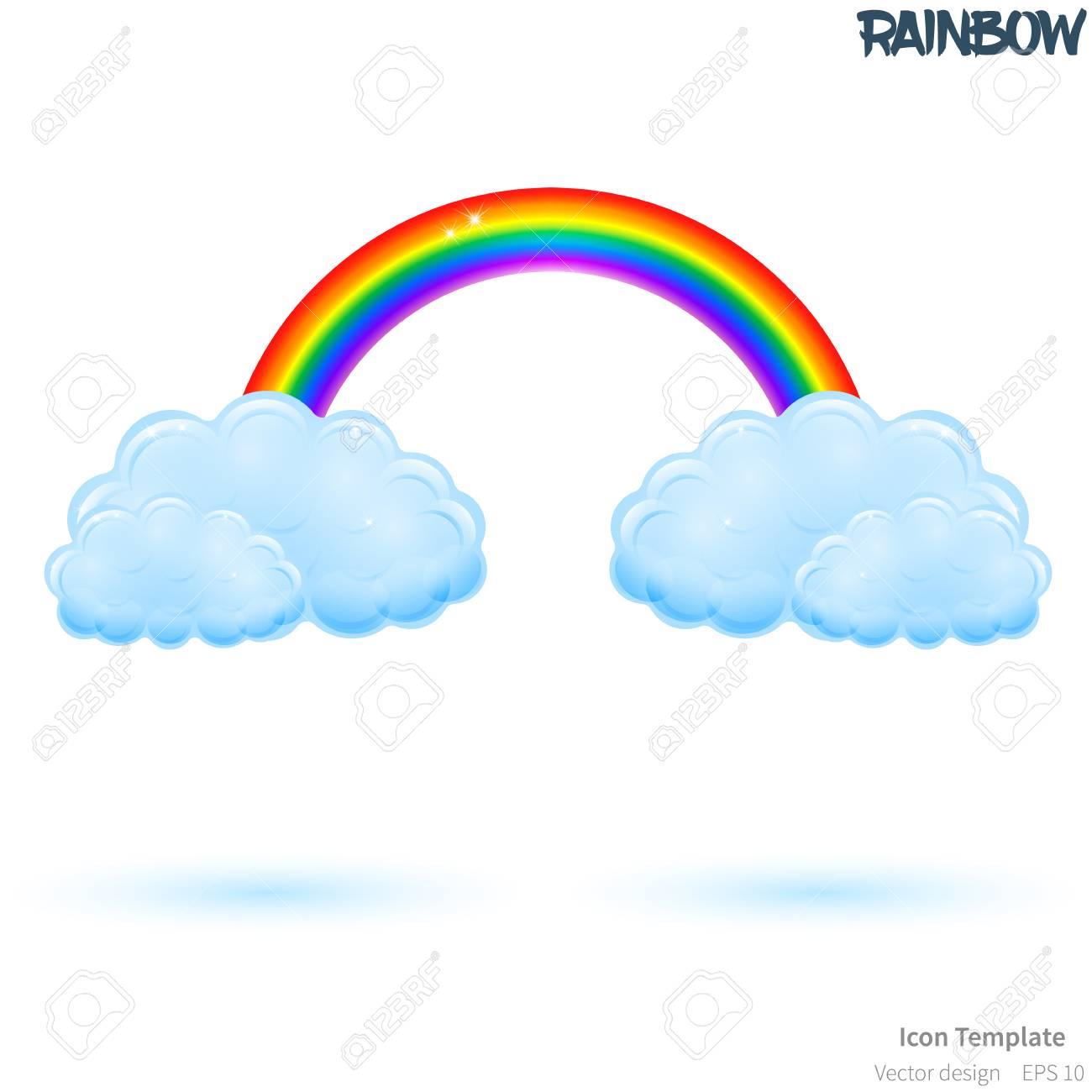 Rainbow Template | Fully Vector Rainbow Icon Template Glossy Blue Cloud Object