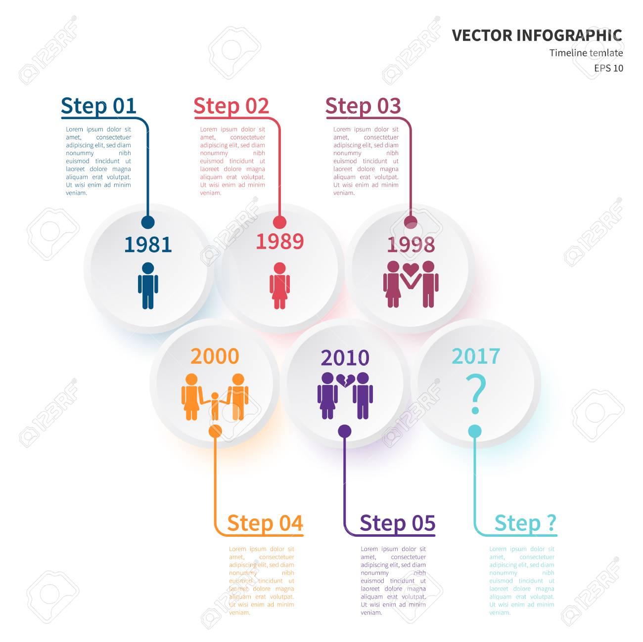 Plantilla De Vector Infografía. Concepto De Línea De Tiempo Basado ...
