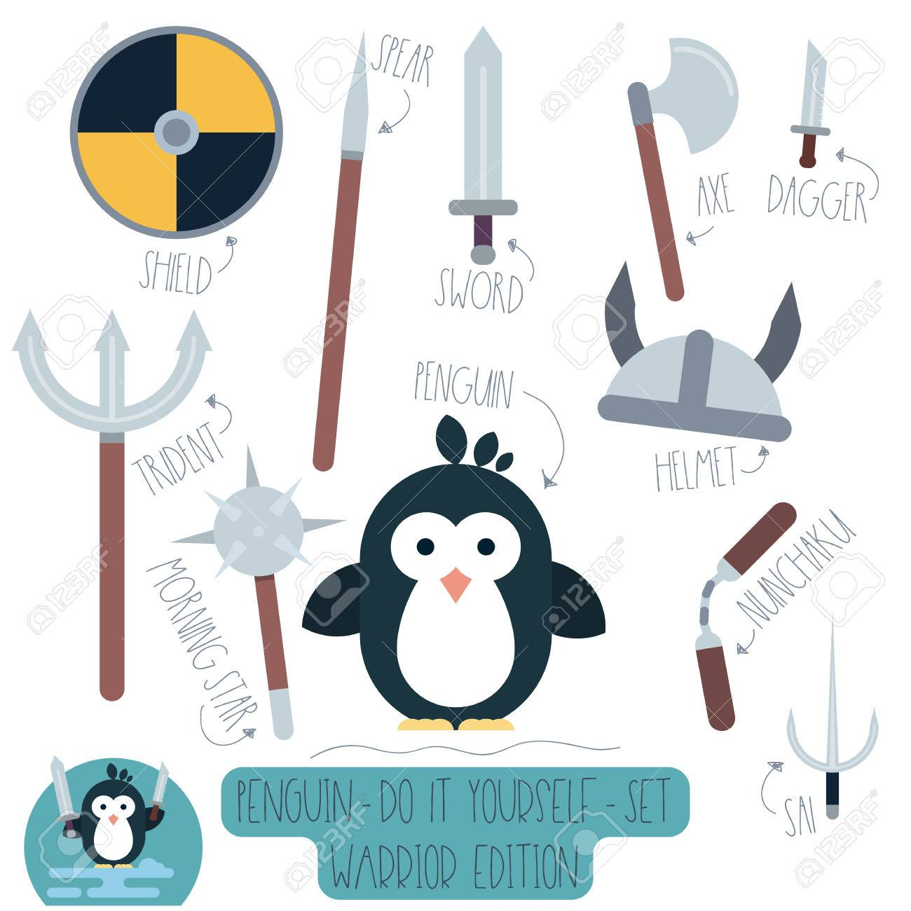 Vector do it yourself set with penguin and weapons make your vector vector do it yourself set with penguin and weapons make your own cartoon flat illustration of funny warrior solutioingenieria Images