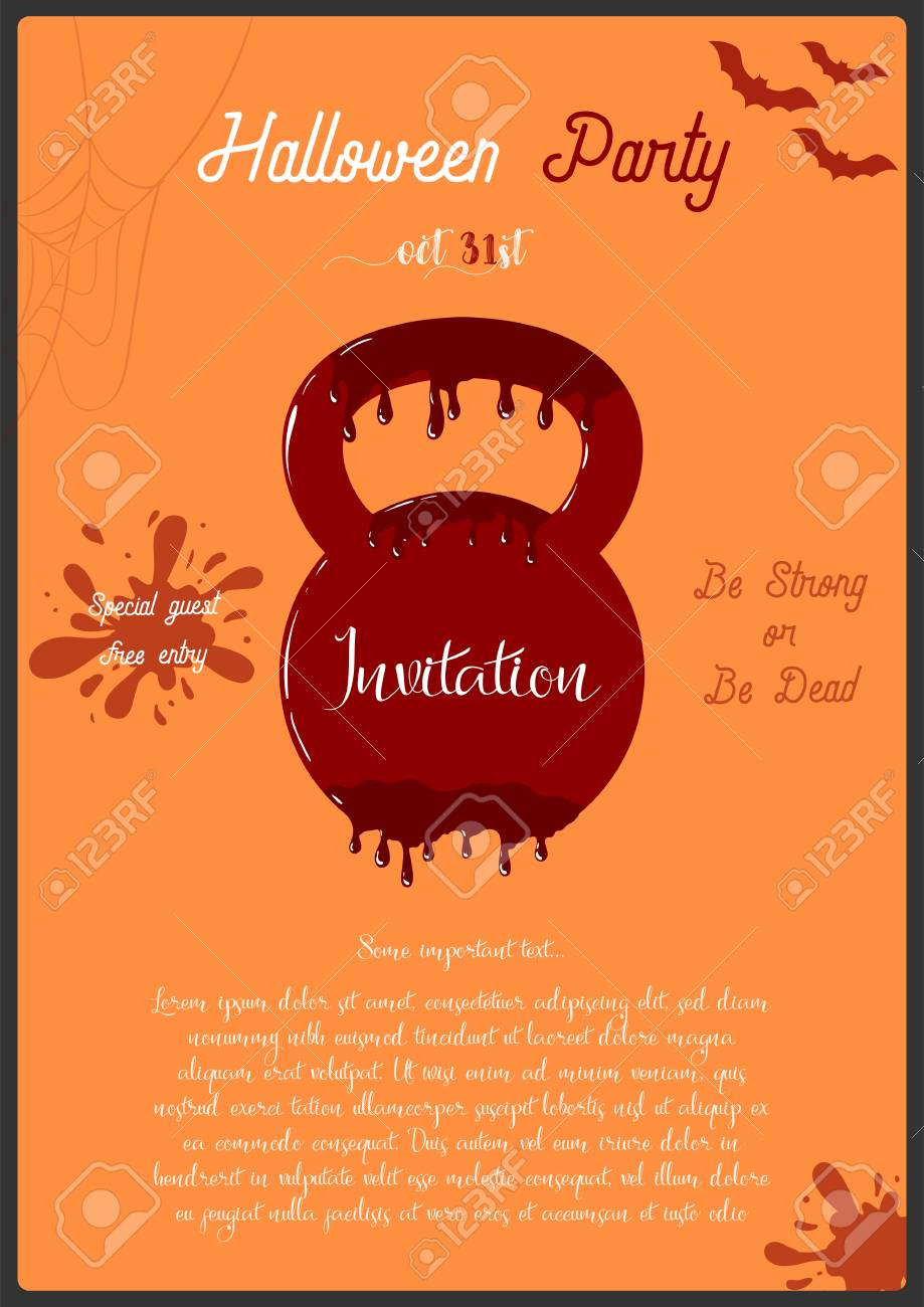 Vector Template Of Halloween Party Invitation Card. Concept With ...