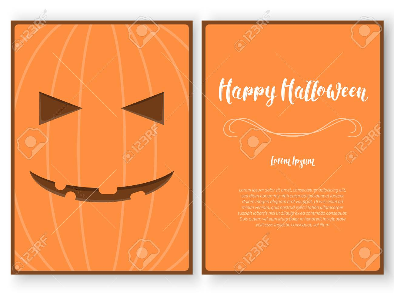 vector halloween card template stylized as a carved pumpkin royalty