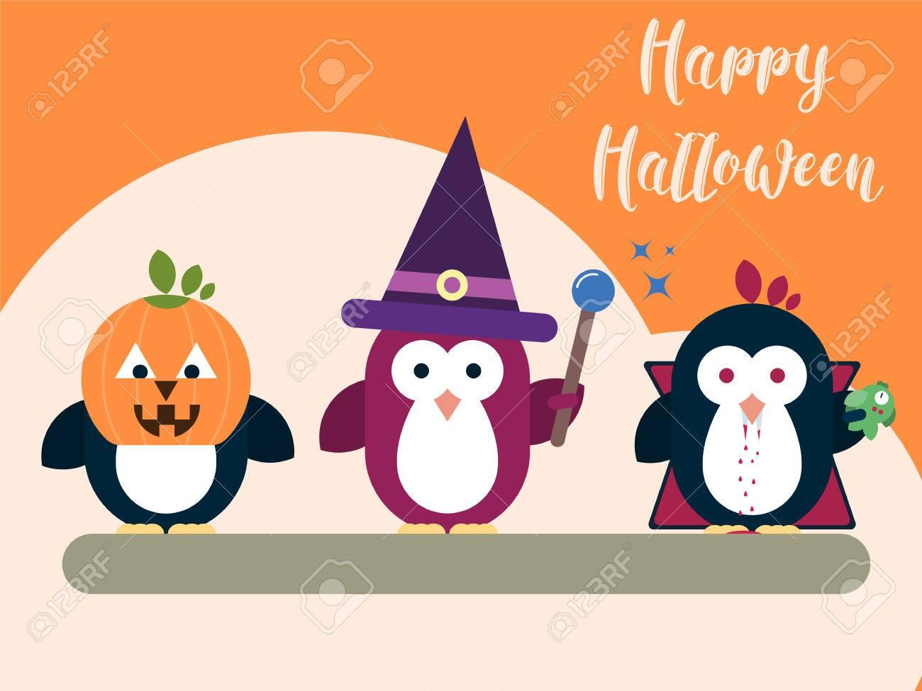 Sjabloon Halloween.Vector Halloween Kaart Sjabloon Met Gestileerde Pinguin Karakters Moderne Platte Illustratie