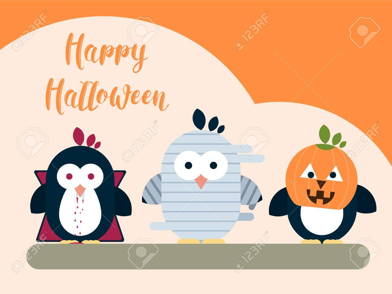 vector halloween card template with stylized penguin characters