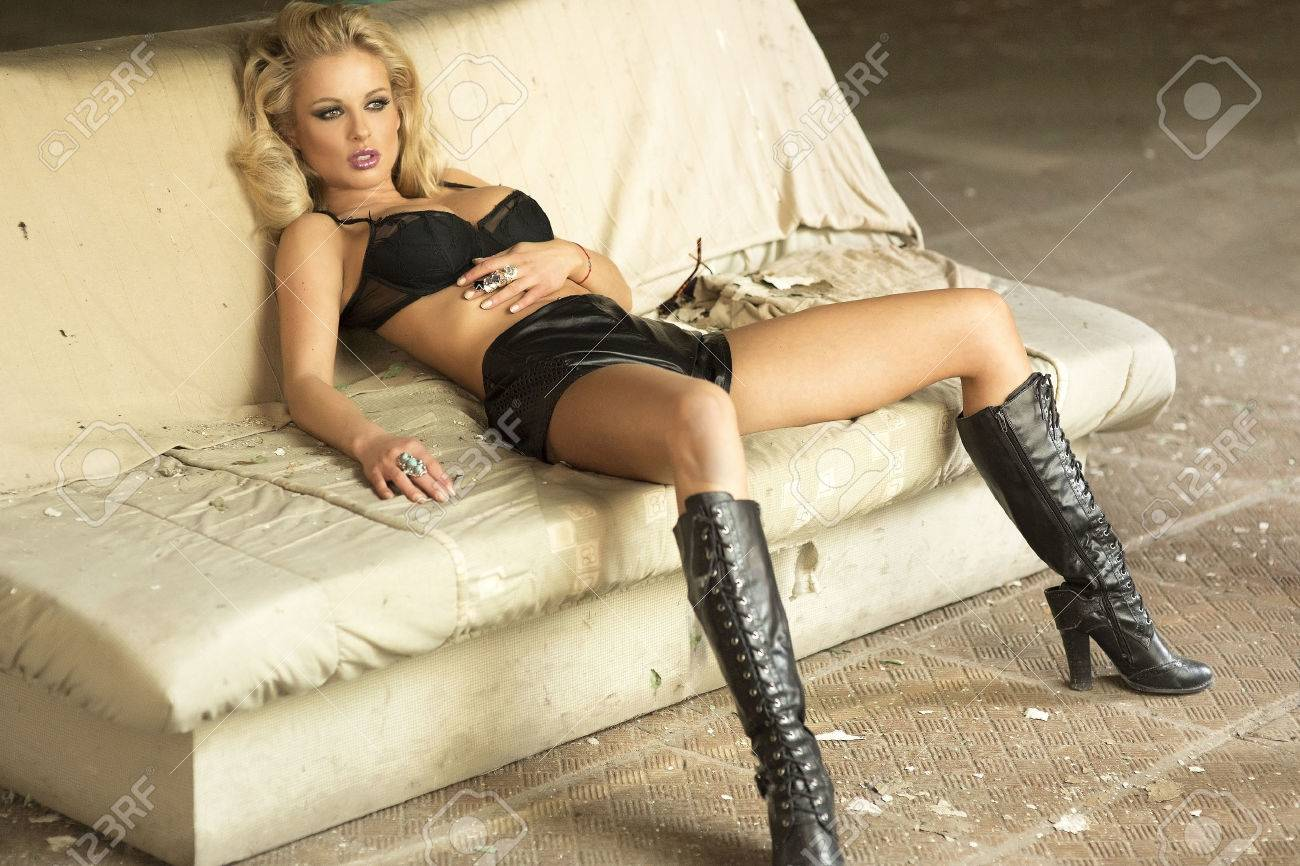 Tremendous Attractive Sexy Blonde Woman Lying On The Sofa In Black Lingerie Uwap Interior Chair Design Uwaporg