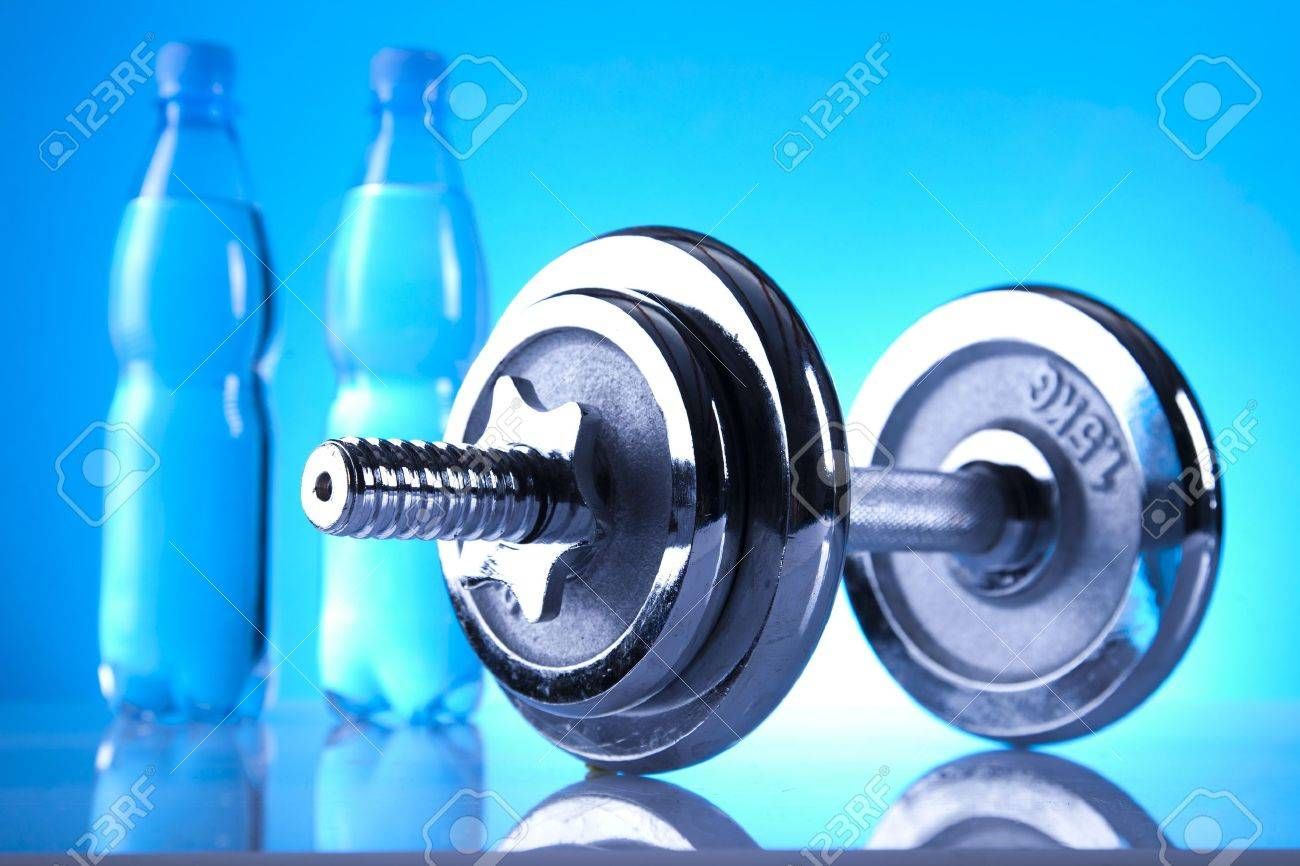 dumbell and mineral water Stock Photo - 9566989