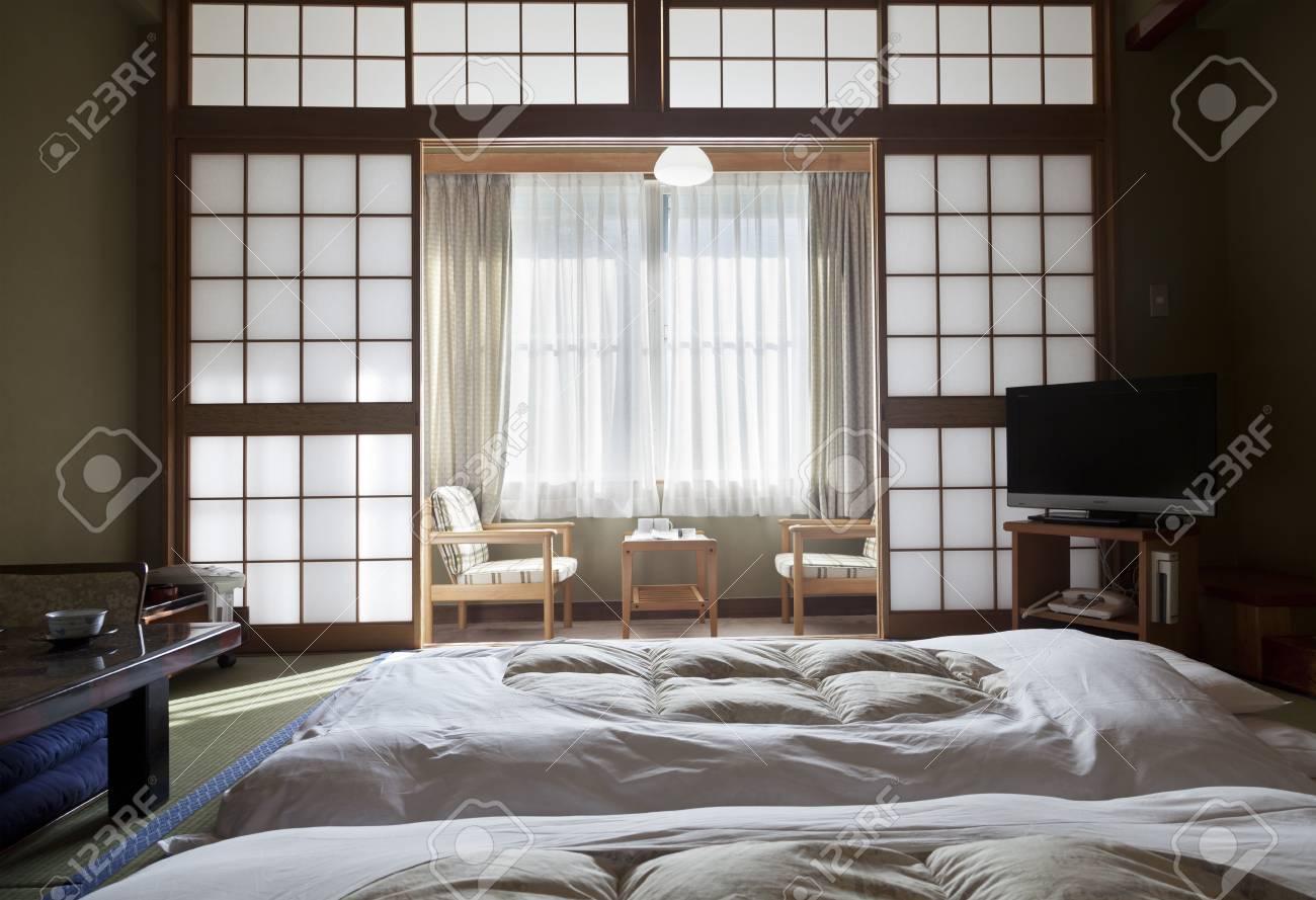 Kamikochi, JAPON- MAI 22,2016: Intérieur d\'une chambre traditionnelle  japonaise, chaque détail est original