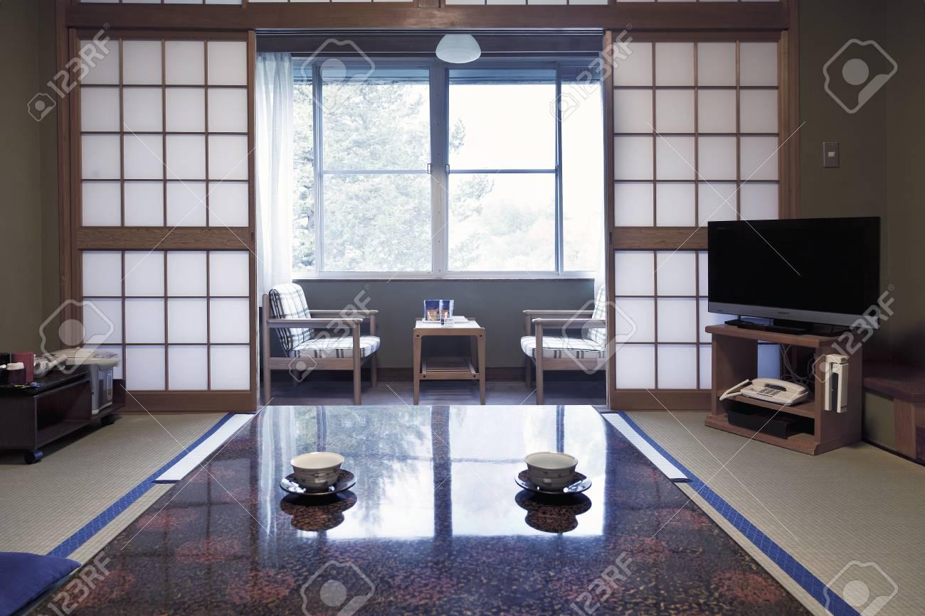 Kamikochi, JAPON- MAI 22,2016: Intérieur d\'une chambre traditionnelle  japonaise.