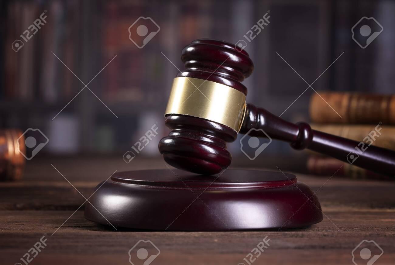 Wooden judge`s gavel. Law. Judge's office. - 123633450