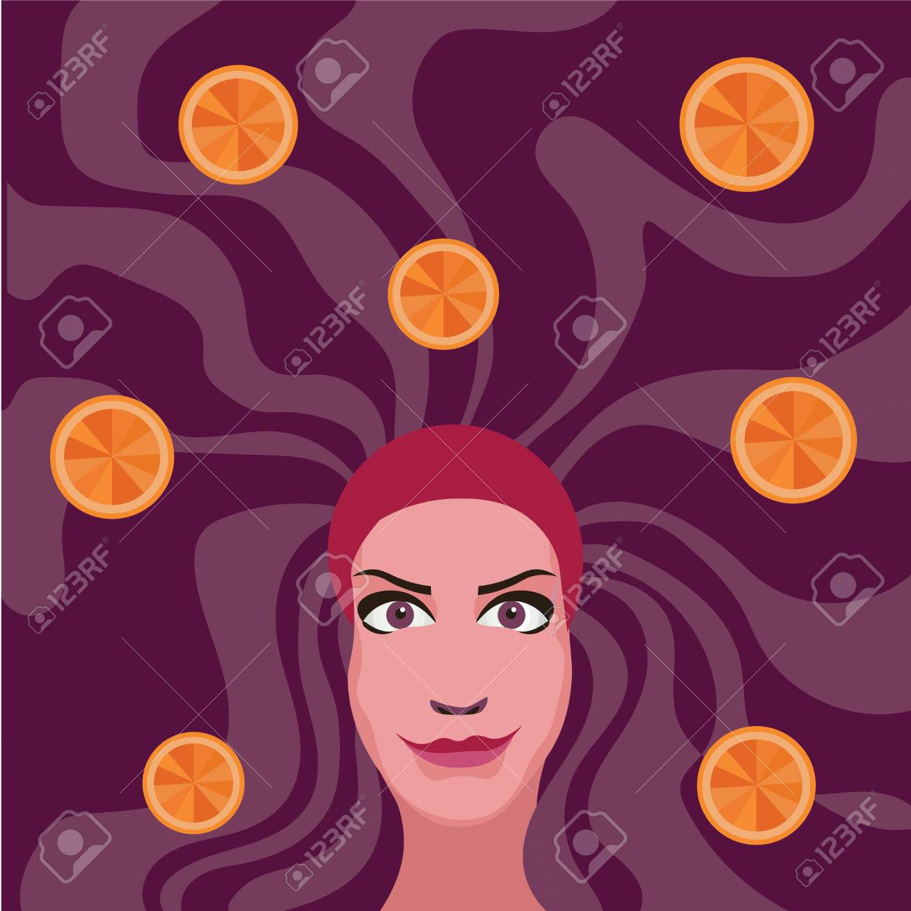 woman with purple hair with oranges - 49455268