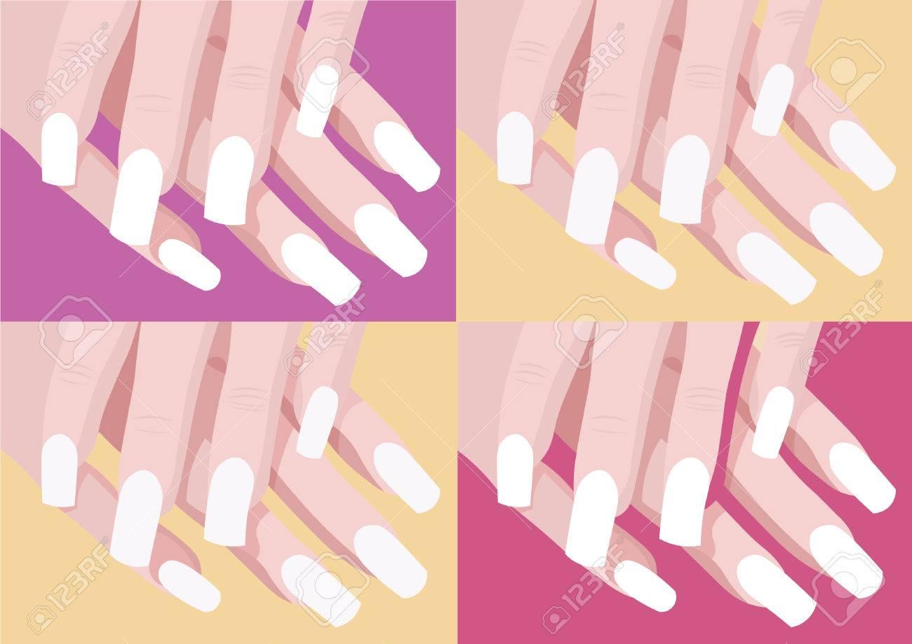 4 つの色ネイル デザインとピンク紫と黄色背景でマニキュアの指イラスト