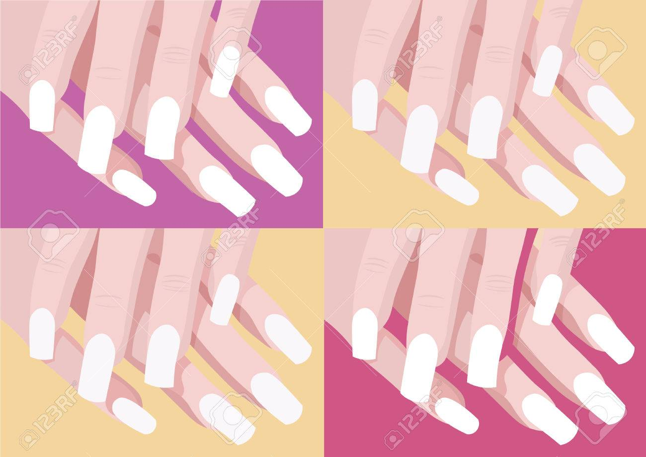 Set Of Four Color Nail Design And Art With Manicure Fingers ...