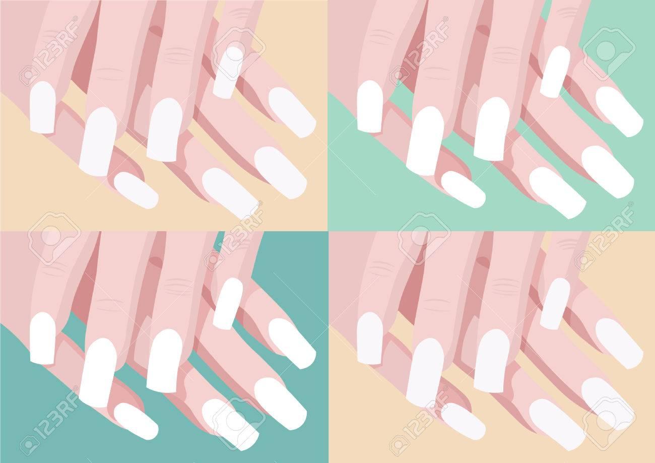 Satz Von Vier Farbe Nageldesign Und Kunst Mit Manikure Finger
