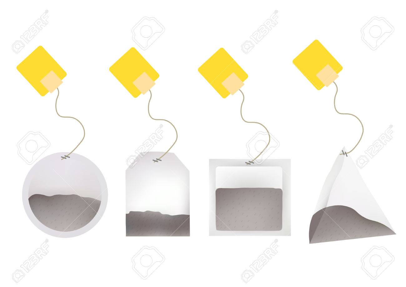Tea Bags Illustration with Labels In Round, Rectangle, Square, Pyramid Shapes. Vector Template Illustration For Your Design. Isolated On White Background. - 54341535