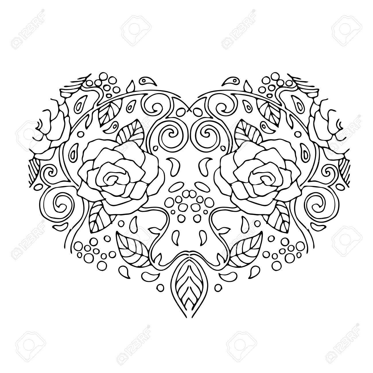 Coeur D Amour Decoratif Avec Des Fleurs Carte De Saint Valentin