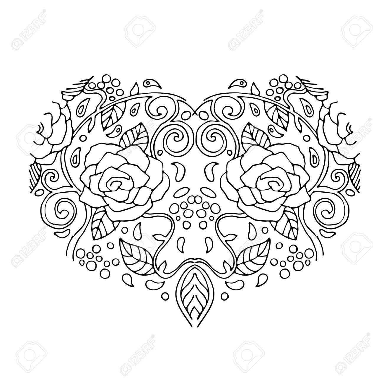 Decorative Love Heart With Flowers Valentines Day Card Coloring Book For Adult And Children