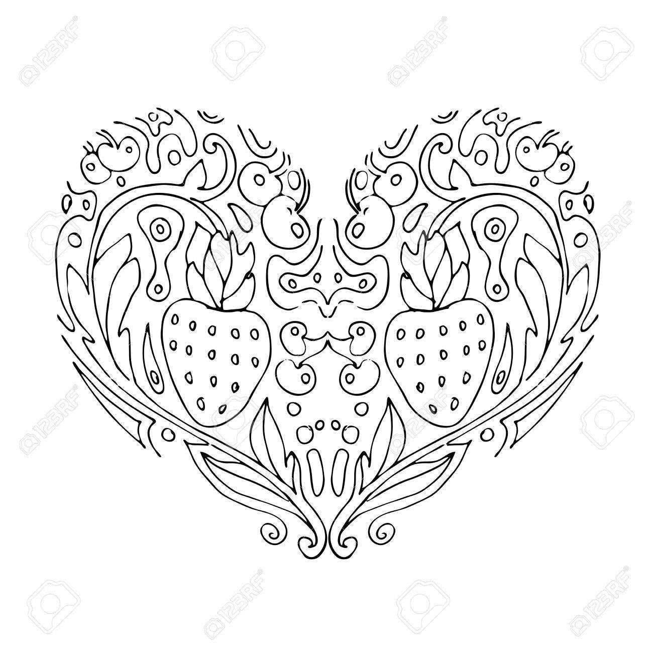 Amor Del Corazón Decorativo Con Las Flores Y Las Bayas. Tarjetas De ...