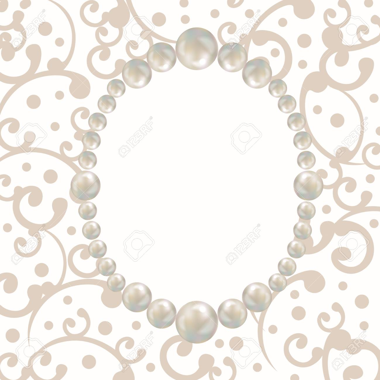 pearl frame retro design card template for greeting card