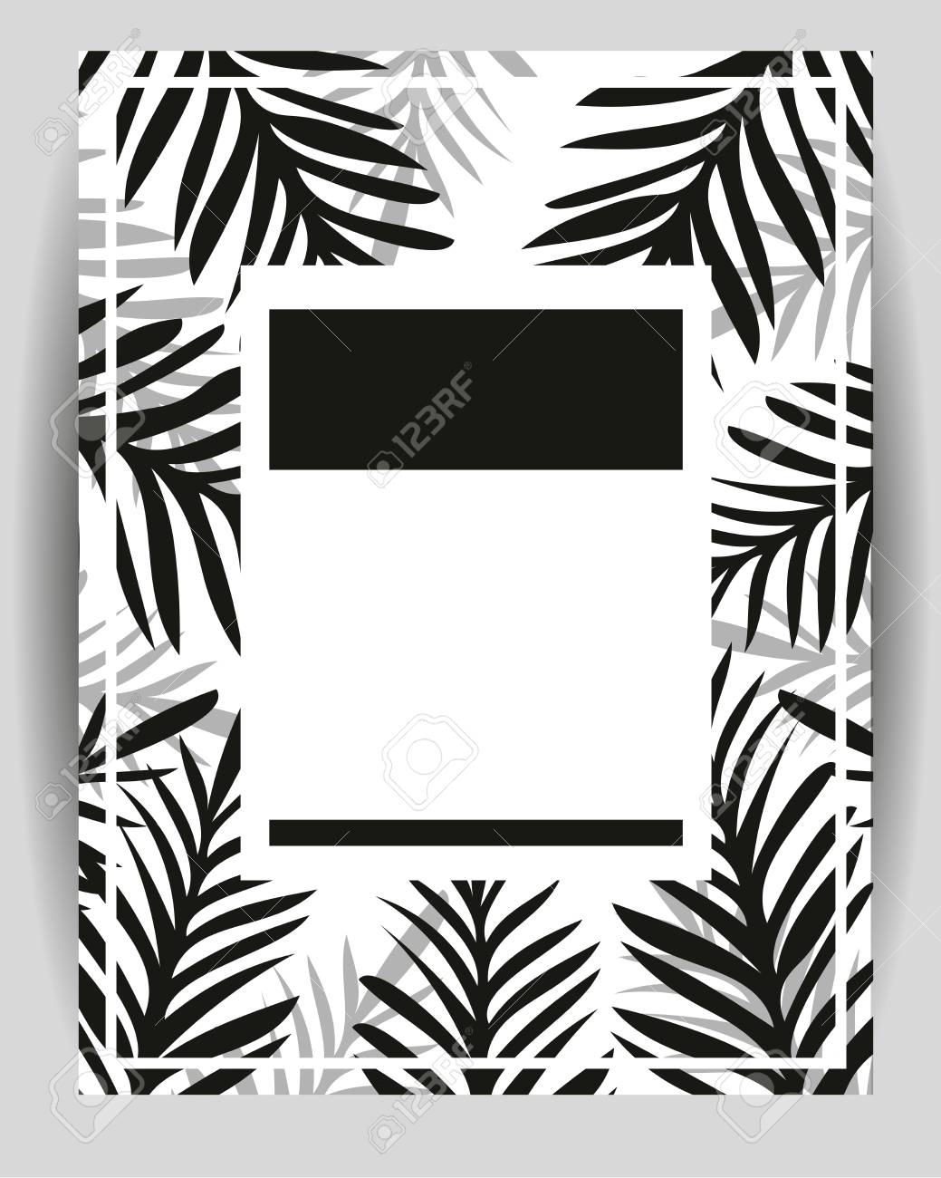 Summer Party Poster With Palm Leaf Abstract Palm Branch Greeting