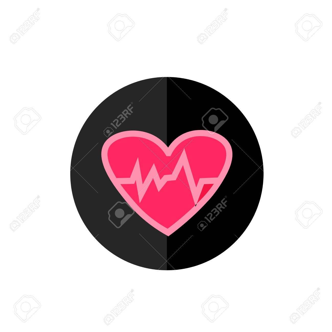 Heartbeat Icono Plana En Marco Del Círculo Para La Web, App ...