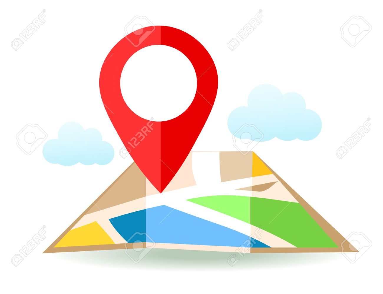 Flat map with pin. Vector location pointer icon. Markers on the Map. - 58122305