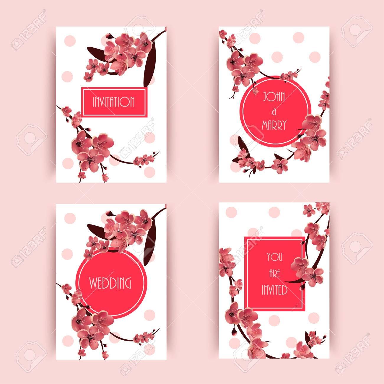 Sakura, Cherry Blossoming Tree Vector Background Illustration ...