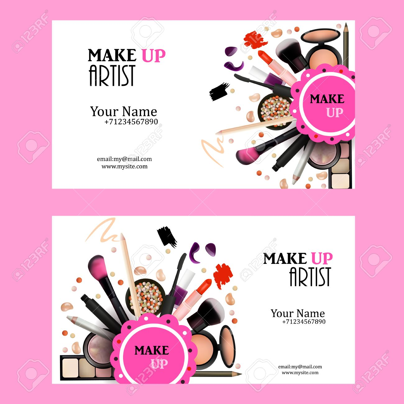 Make Up Artist Business Card Design Set. Cosmetic Products Vector ...