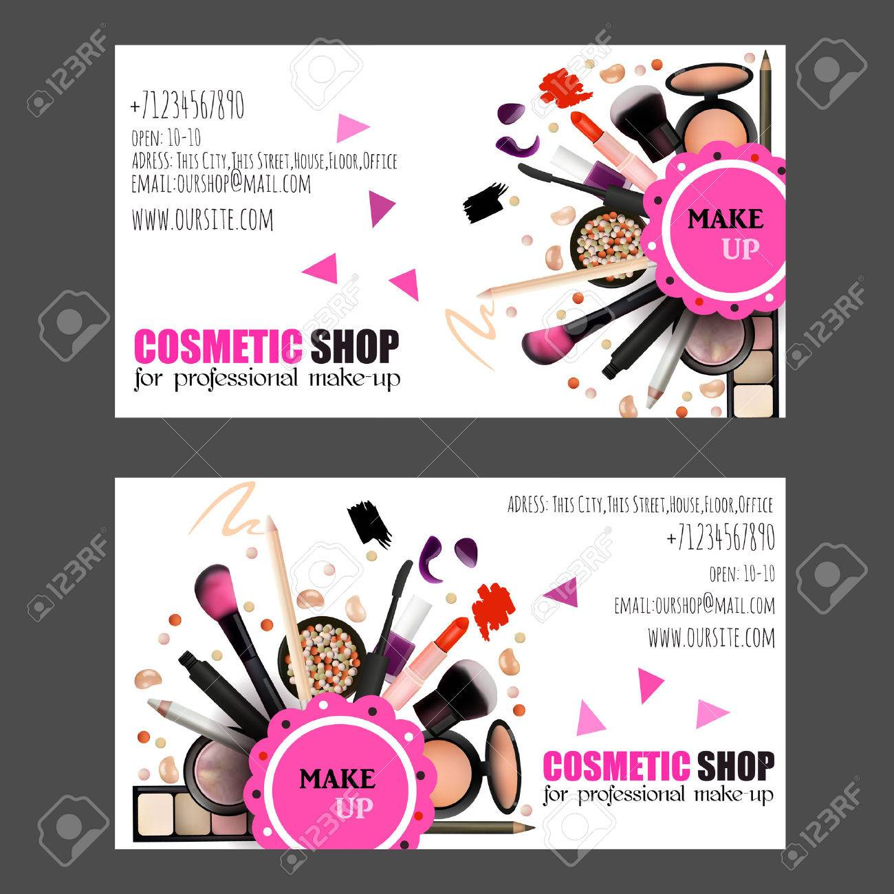 Cosmetic Shop Business Card Design Set. Cosmetic Products For ...
